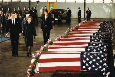 Coffins of Americans who died in bombing of Marine barracks in Beirut
