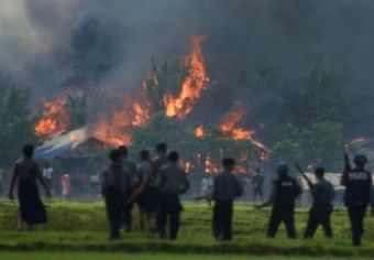 Setting fire to Rohingya villages and got destructed by Rakhine & Security forces