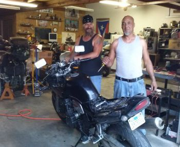 Charlie Otero and Al with Tim's bike near Witchita