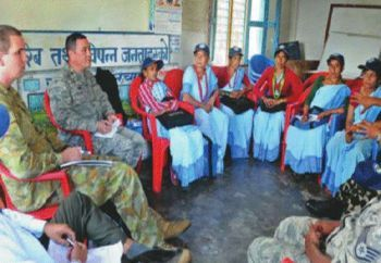 American soldiers on 'humanitarian mission' taking stock of healthcare issues with volunteers at Dhikurpokhari, Kaski district. Courtesy: The Himalayan Times, e-paper, Kathmandu, Nepal