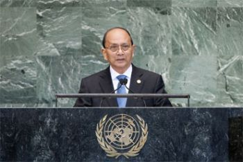 President Thein Sein addresses the UN General Assembly.<br> UN Photo